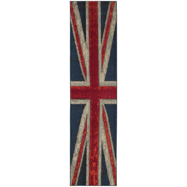 """Style Haven Modernized Union Jack Navy and Pink Area Rug (2'7 x 10') - 2'7"""" x 10' Runner"""