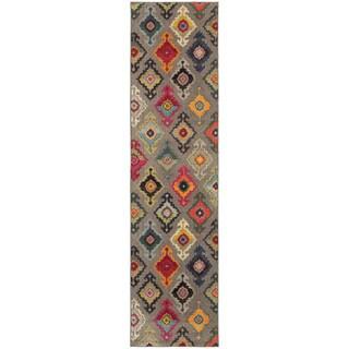 Vibrant Bohemian Grey and Multicolored Area Rug (2'7X10')