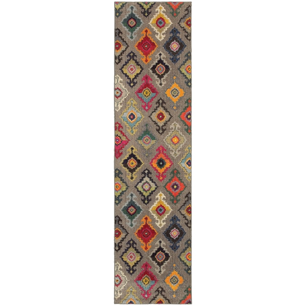 "Vibrant Bohemian Grey and Multicolored Area Rug (2'7X10') - 2'7"" x 10' Runner"
