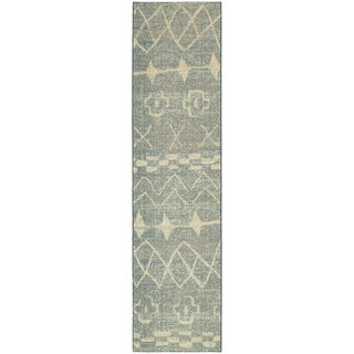 """Abstract Nomad Tribal Relief Blue/ Beige Rug (2'7X10') - 2'7"""" x 10' Runner"""