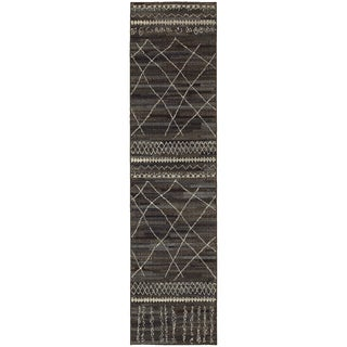 Style Haven Updated Old World Tribal Black/Beige Runner Rug - 2'7 x 10'