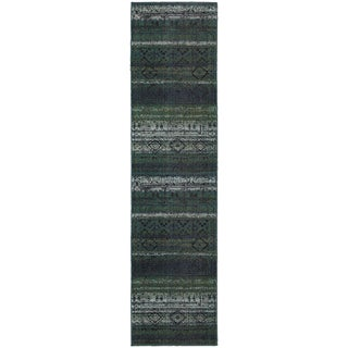 "Tribal Etchings Green/ Blue Rug (2'7X10') - 2'7"" x 10' Runner"