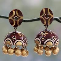 Handmade Sterling Silver Ceramic ' Brown Kiss' Earrings (India)