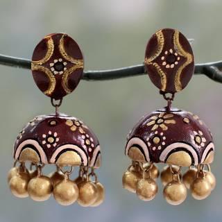 Handmade Sterling Silver Ceramic ' Brown Kiss' Earrings (India)