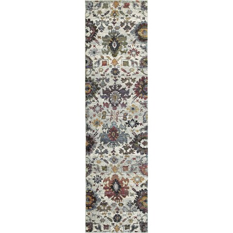"""Copper Grove Tadoba Traditional Floral Oriental Ikat Stone/Multicolored Nylon/Fabric Runner Rug - 2'3"""" x 8' Runner"""