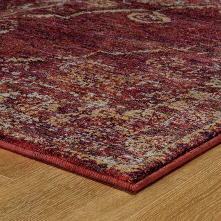 """Antiqued Traditional Medallion Red/ Gold Rug (2'3 X 8') - 2'3"""" x 8'"""