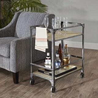 Madison Park Brewer Natural Bar Cart with Decor Wheels