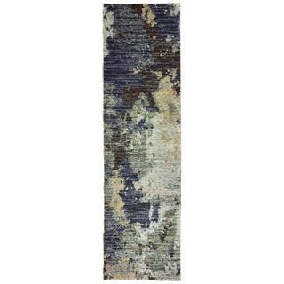 """Grey Skies Navy/ Blue Area Rug (2'3 X 8') - 2'3"""" x 8' Runner"""