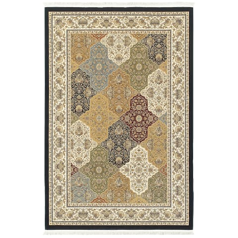 "Intricate Medallions Panel Navy/ Multi Fringe Area Rug (2'3 X 10') - 2'3"" x 10' Runner"