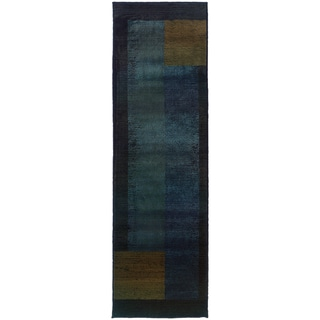 "Contemporary Colorblock Blue/Gold Area Rug - 2'6"" x 9'1"" Runner"