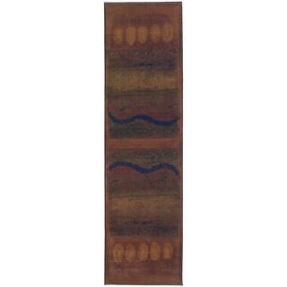Style Haven Kharma II Gold/Green Runner Rug (2' 6 x 9' 1)