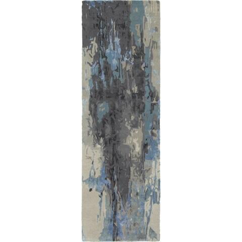 "Strick & Bolton Lester Glacial Abstract Blue/ Grey Runner Rug - 2'6"" x 8' Runner"
