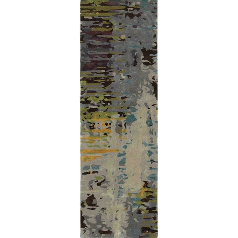 Meld Abstract Multi/ Grey Rug - 2'6 x 8'