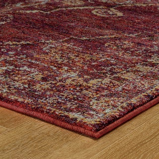 """Antiqued Traditional Medallion Red/ Gold Rug (2'6 X 12') - 2'6"""" x 12'"""