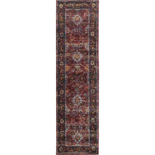 Classically Inspired Persian Red/ Purple Rug - 2'6 X 12'