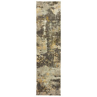 "Style Haven Marbled Stone Grey / Golden Abstract Runner Rug (2' 6 x 12') - 2'6"" x 12' Runner"