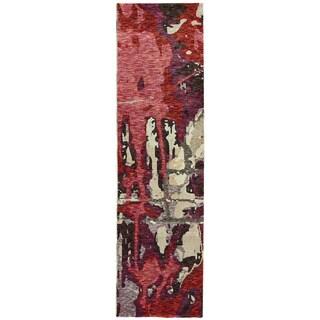 Bordeaux Canvas Red/Beige Area Rug (2'6X12')