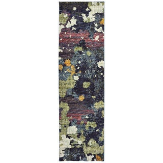 Dappled Night Navy/Green Area Rug - 2'6 x 12'