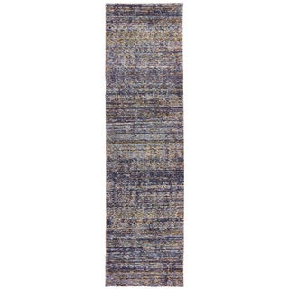 Tonal Textured Purple/ Grey Area Rug (2'6 X 12')