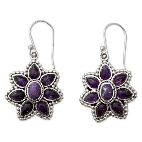 Handmade Sterling Silver 'Ruffled Petals' Amethyst Turquoise Earrings