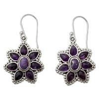 Handmade Sterling Silver 'Ruffled Petals' Amethyst Turquoise Earrings (India)