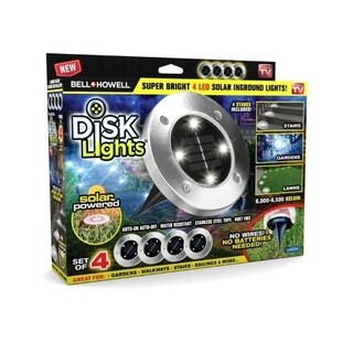 Bell + Howell Disk Lights Solar Powered LED Outdoor Lights Set of 4