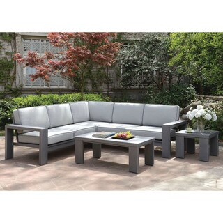 Furniture of America Luva Modern Grey Weather Resistant L-Shaped Sectional