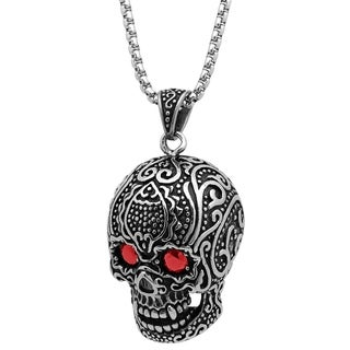 Steeltime Men's Stainless Steel Skull Pendant with Red Cubic Zirconia