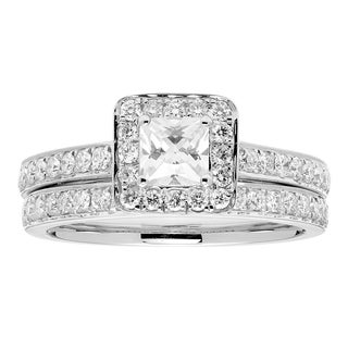 Sofia 14k White Gold 1.15ct TDW Certified Diamond Bridal Set