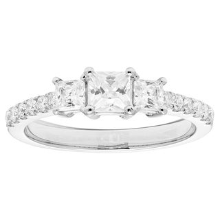 Sofia 14k White Gold 1ct TDW Certified Diamond Three Stone Ring