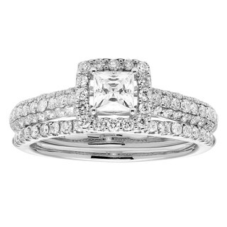 Sofia 14k White Gold 1ct TDW Certified Diamond Bridal Set