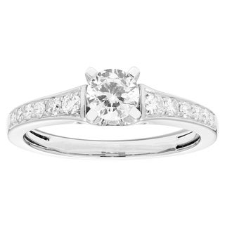 Sofia 14k White Gold 3/4ct TDW Certified Diamond Engagement Ring