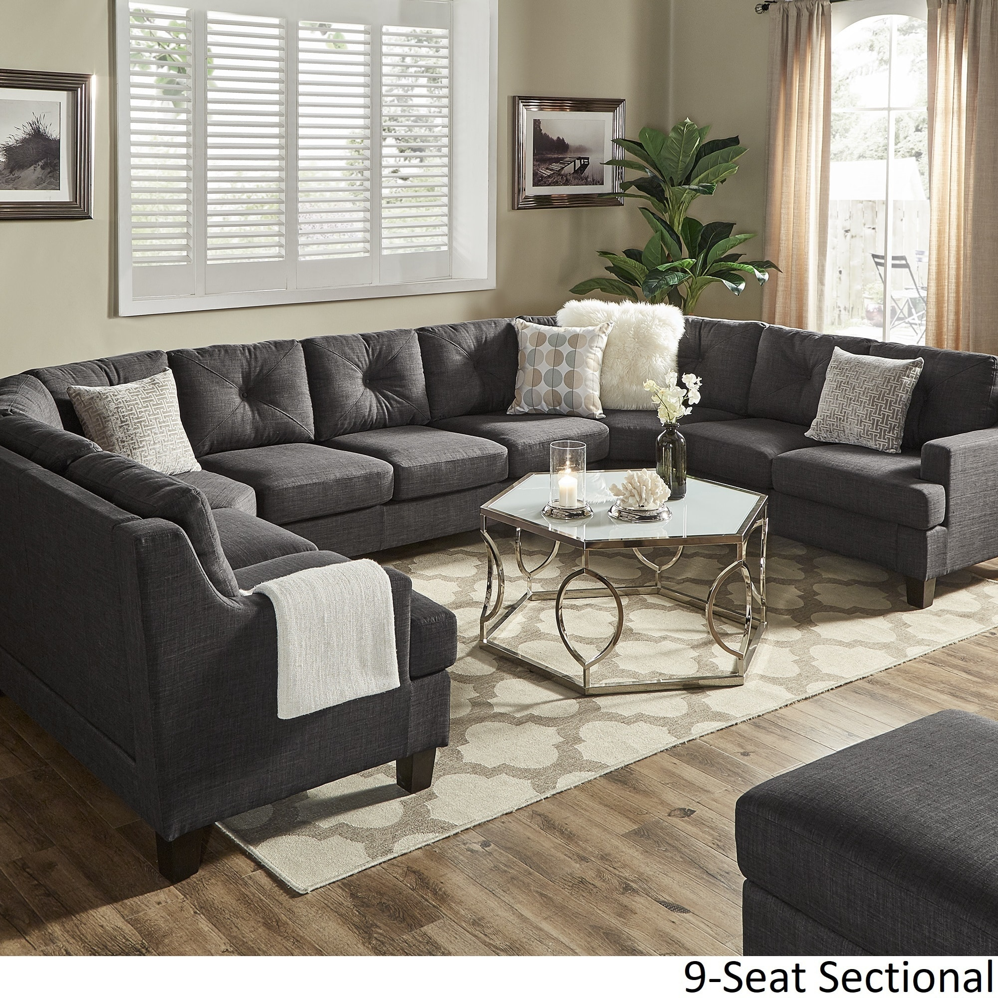 Elston Dark Grey Linen U Shape Sectionals By INSPIRE Q Modern (4 Options  Available