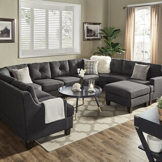 Elston Dark Grey Linen U-Shape Sectionals by iNSPIRE Q Modern (4 options available)