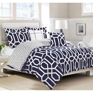 Boho Living Runa Blue and White Geometric 5-Piece Reversible Comforter Set