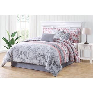 Gloriane Grey And Pink Embroidery 7 Piece Comforter Set