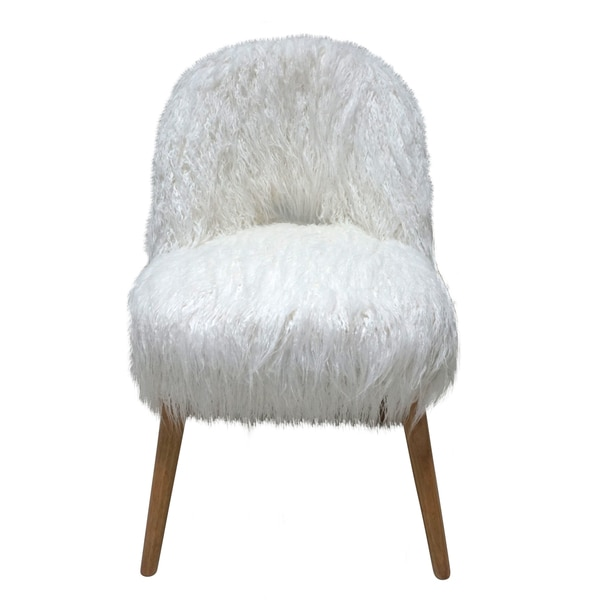 Modern White Curly Faux Fur High Back Accent Chair With Natural Wood Legs