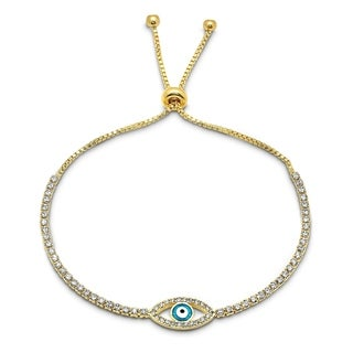 Piatella Ladies Gold Tone Brass Evil Eye Cubic Zirconia Drawstring Bracelet