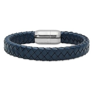 Steeltime Men's Blue Leather Braided Bracelet with Stainless Steel Clasp