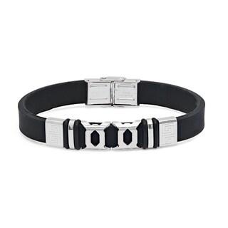 Steeltime Men's Black Leather Bracelet with Fold Over Closure
