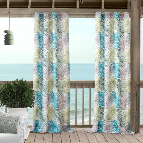 Elrene Tahiti Palm Leaf Indoor/Outdoor Grommet Window Panel