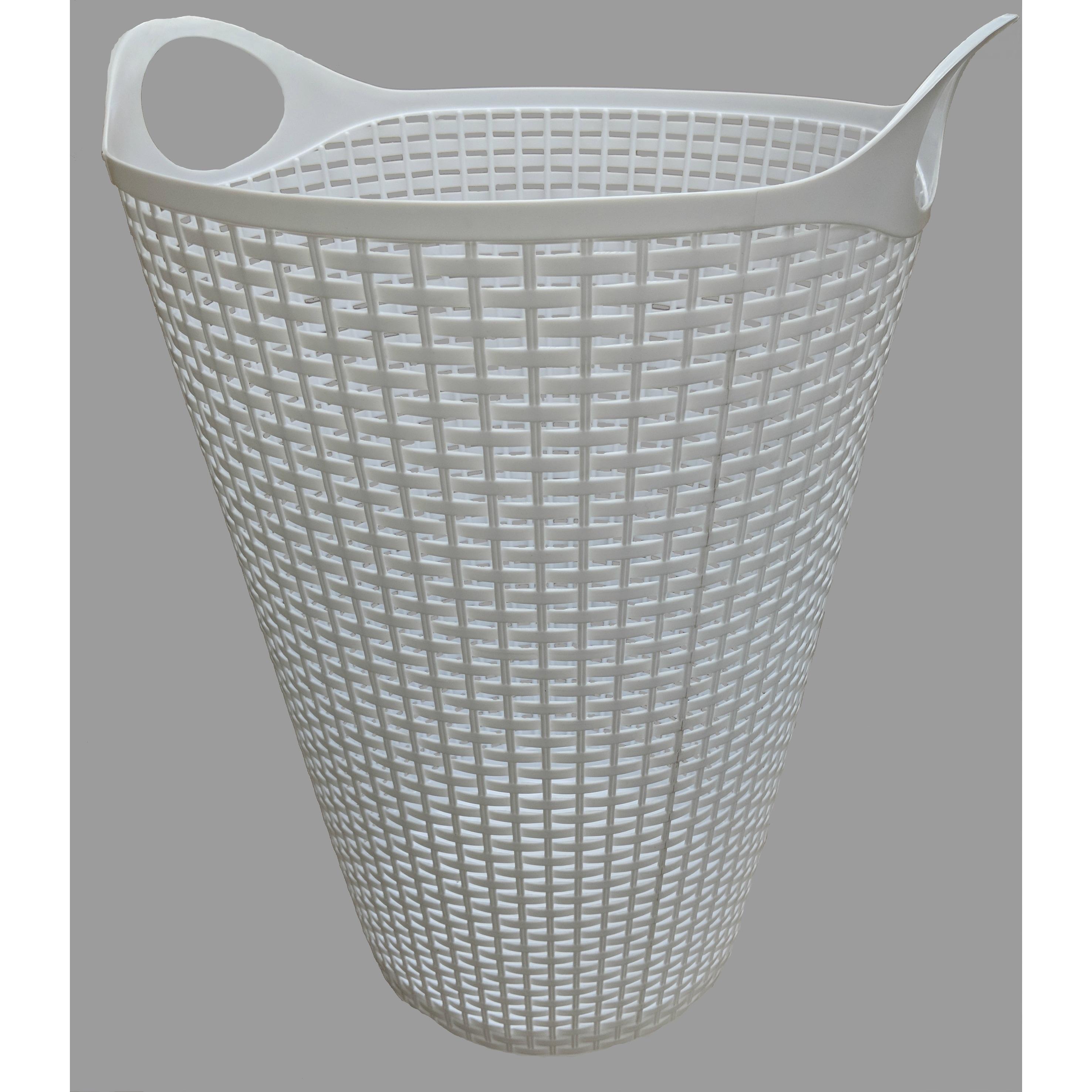 Flex Wicker Laundry Basket White, 2 Pack (Plastic)
