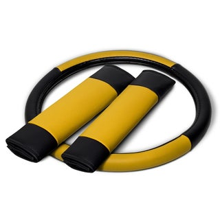 OxGord Synthetic Leatherette Steering Wheel Cover - S2 (Option: Yellow)