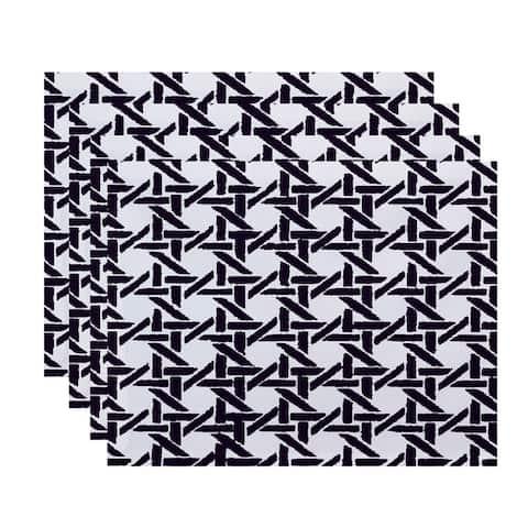 18 x 14 Inch Rattan Geometric Geometric Print Placemat (set of 4)