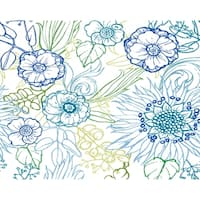 18 x 14 inch Zentangle 4 Color Floral Print Placemat (Set of 4)