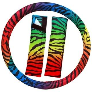 OxGord Zebra Steering Wheel Cover Rainbow