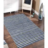 Hand-Tufted Perry Blue Striped Blended New Zealand Wool Rug (8' x 11') - 8' x 11'