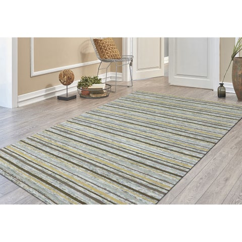 """Hand-Tufted Perry Gold Striped Blended New Zealand Wool Rug (7'6 x 9'6) - 7'6"""" x 9'6"""""""