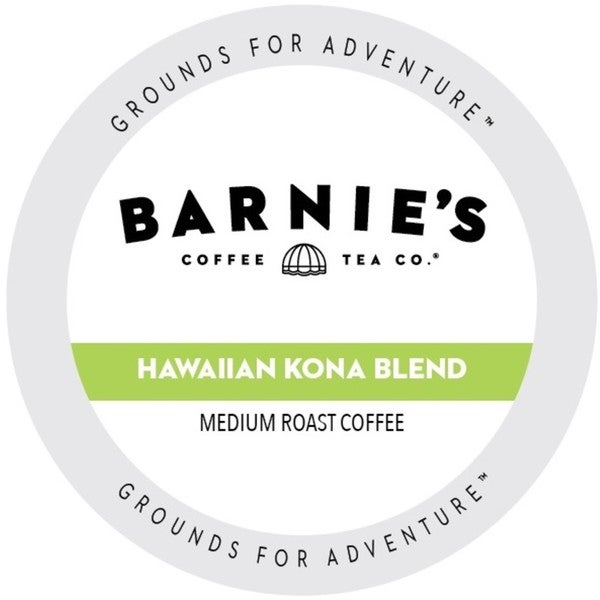 Barnie's Coffee Kitchen Hawaiian Kona Blend Dark Roast Sweet and Bright Single Serve Coffee Cups for Keurig Brewers 22 Count