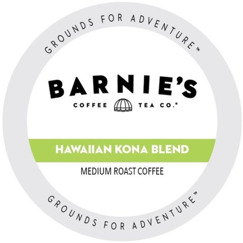 Barnie's Coffee Kitchen Hawaiian Kona Blend Dark Roast Sweet and Bright Single Serve Coffee Cups for Keurig Brewers 22 Count